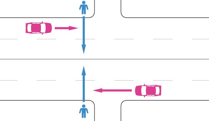 横断歩道から50m以上離れた片側2車線以上の交差点すぐ近くの道路を横断中の歩行者と直進する車の事故