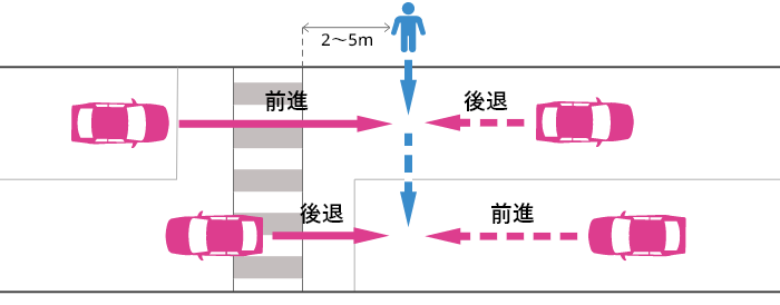 信号機の無い横断歩道から2~5m離れた片側2車線未満の道路を横断する歩行者と前進またはバックする車の事故