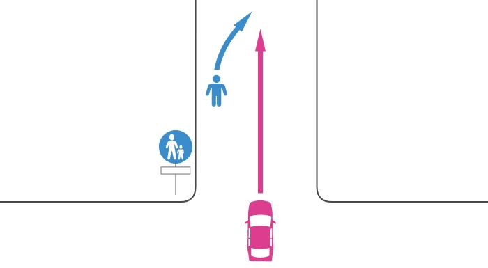 歩行者用道路での歩行者と車の事故
