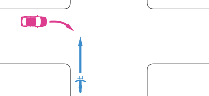 信号機のない交差点で優先道路を走行する自転車とその左の道路から右折してきた車の事故