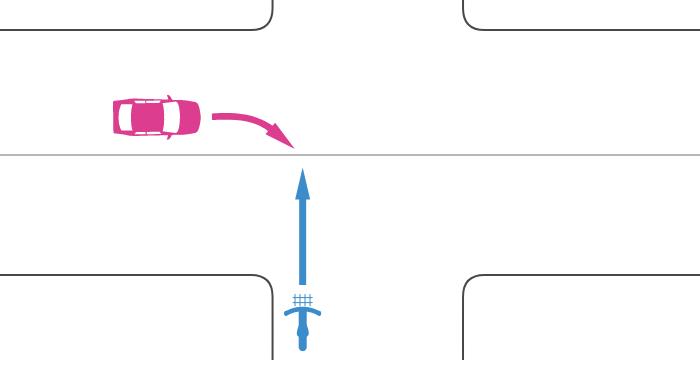 信号機のない交差点で非優先道路を走行する自転車とその左の優先道路から右折してきた車の事故