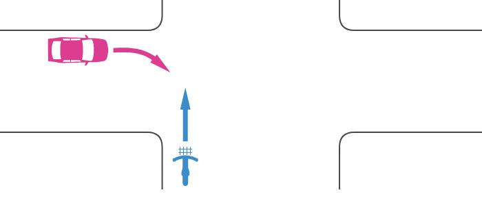 信号機のない交差点で広路を直進する自転車とその左の狭路から右折してきた車の事故