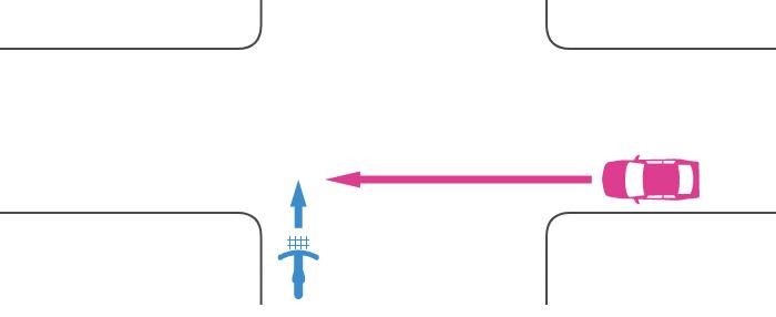 信号機のない交差点で広路を直進する自転車とその右の狭路から直進してきた車の事故