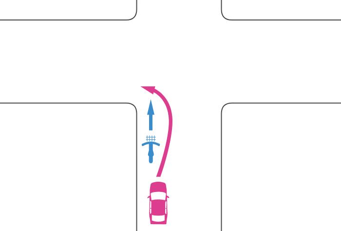 信号機のない交差点の手前で自転車を追い越して交差点を左折した車と自転車の事故