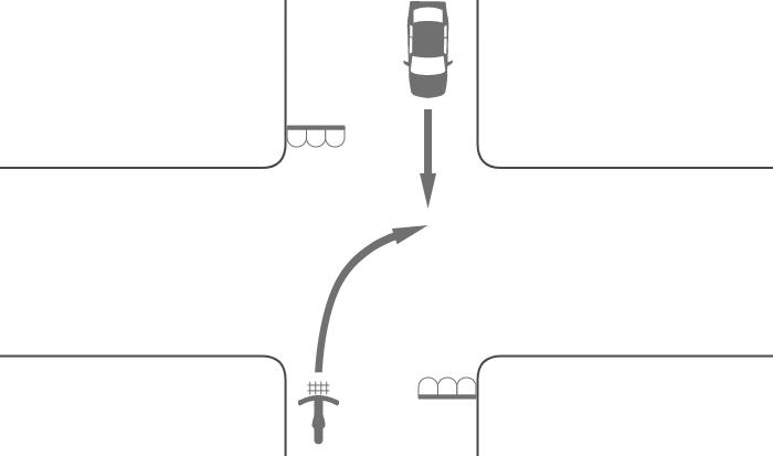 信号機のある交差点で二段階右折を怠って右折した自転車と対向する直進車の事故