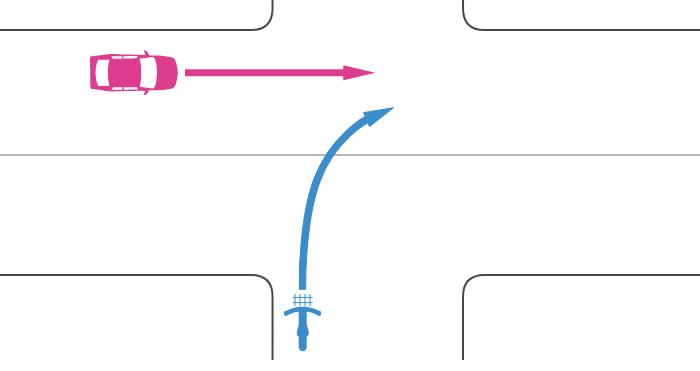 信号機のない交差点に非優先道路から二段階右折を怠って右折進入する自転車とその左の優先道路から直進進入する車の事故