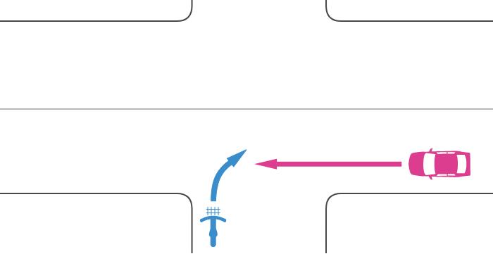 信号機のない交差点に非優先道路から二段階右折を怠って右折進入する自転車とその右の優先道路から直進進入する車の事故