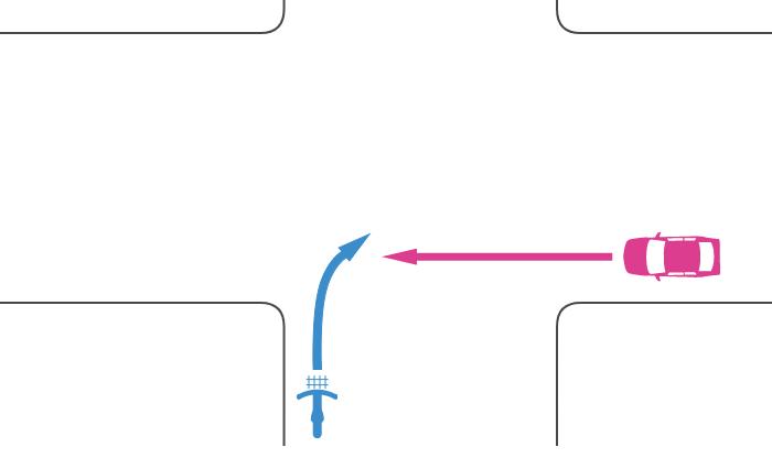 信号機のない同幅員の交差点で二段階右折を怠って右折する自転車とその右側の道路から直進する車の事故