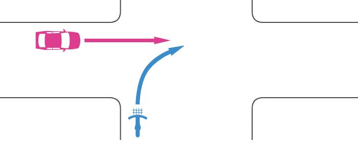 信号機のない交差点に広路から二段階右折を怠って右折進入する自転車とその左の狭路から直進進入する車の事故
