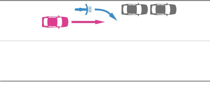 障害物を避けるために進路変更する自転車と後続の車の事故