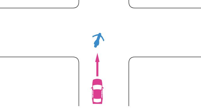 交差点で単車が右折待ちで停止中に四輪自動車に追突された事故