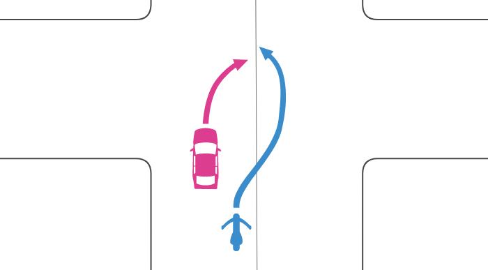追い越し禁止でない交差点で右折する四輪自動車を単車が中央線を越えて追い越した事故