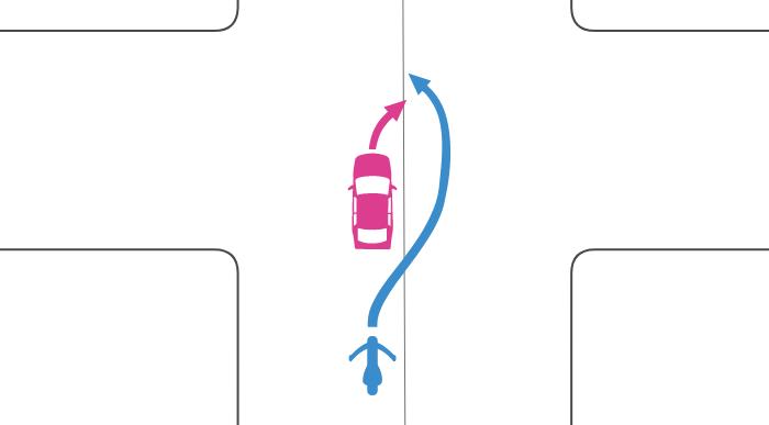 追い越し禁止でない交差点で道路中央に寄って四輪自動車が右折しているときに単車が中央線を越えて追い越した事故
