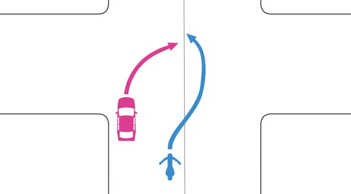 追い越し禁止でない交差点で道路中央に寄らずに四輪自動車が右折しているときに単車が中央線を越えて追い越した事故