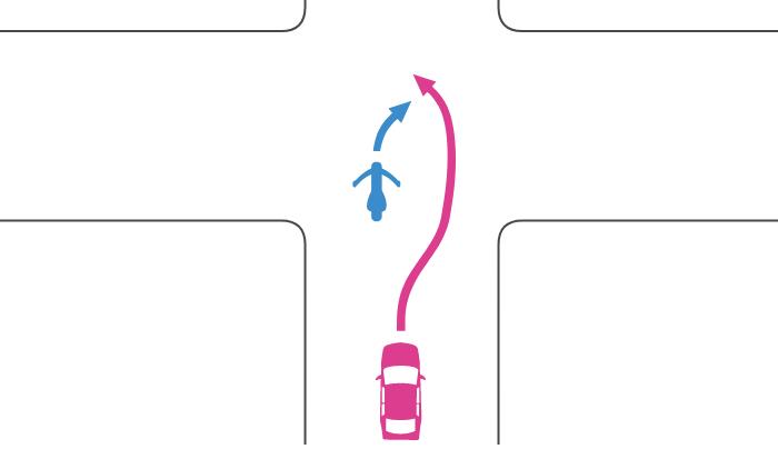 追い越し禁止の交差点で右折する単車を四輪自動車が道路中央を越えて追い越した事故