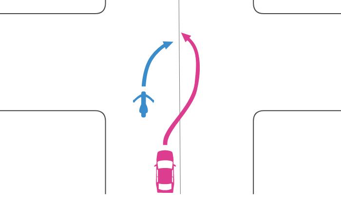 追い越しが禁止されない交差点で右折する単車を四輪自動車が中央線を越えて追い越した事故