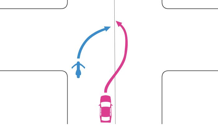 追い越しが禁止されない交差点で道路中央に寄らずに右折する単車を四輪自動車が中央線を越えて追い越したときの事故