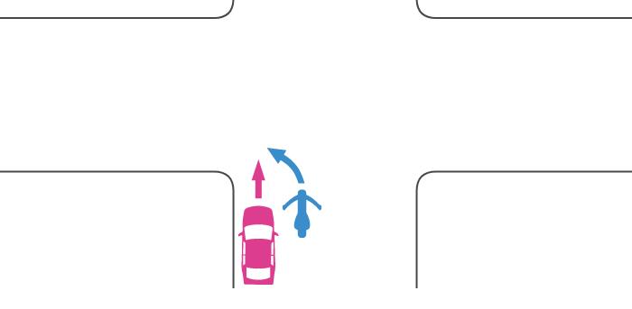 同じ道路から交差点に入った直進する四輪自動車と左折する単車の事故