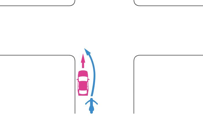 同じ道路から交差点に入って直進した四輪自動車とそれを追い越して左折した単車の事故
