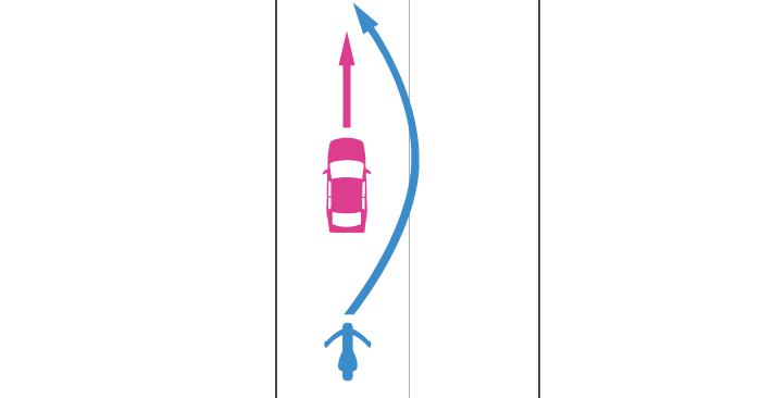 追い越し禁止場所で直進する四輪自動車を単車が追い越すときの事故