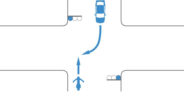 ともに青信号で交差点を直進する単車と対向右折する四輪自動車の事故