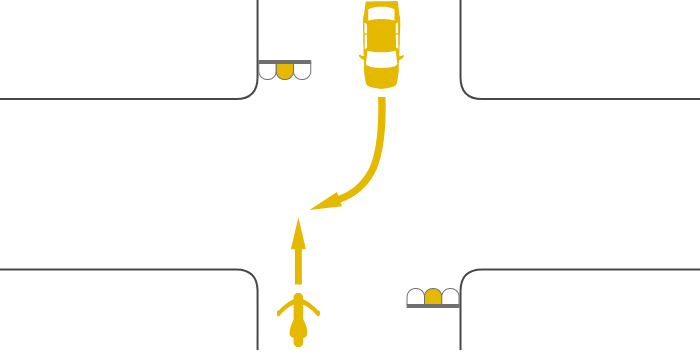 ともに黄信号で交差点を直進する単車と対向右折する四輪自動車の事故
