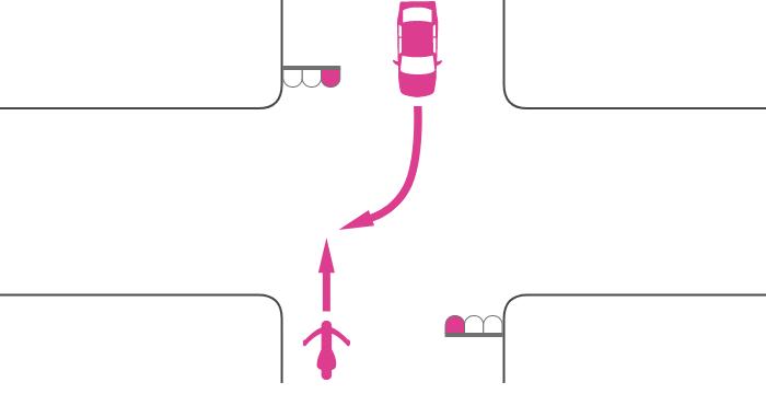 ともに赤信号で交差点を直進する単車と対向右折する四輪自動車の事故