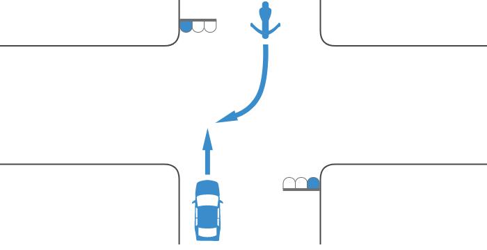 ともに青信号で交差点を直進する四輪自動車と対向右折する単車の事故