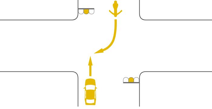 ともに黄信号で交差点を直進する四輪自動車と対向右折する単車の事故