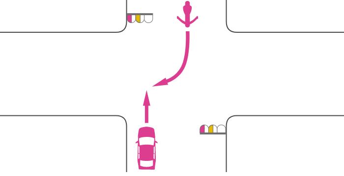 ともに赤点滅または黄点滅信号で交差点を直進する四輪自動車と対向右折する単車の事故