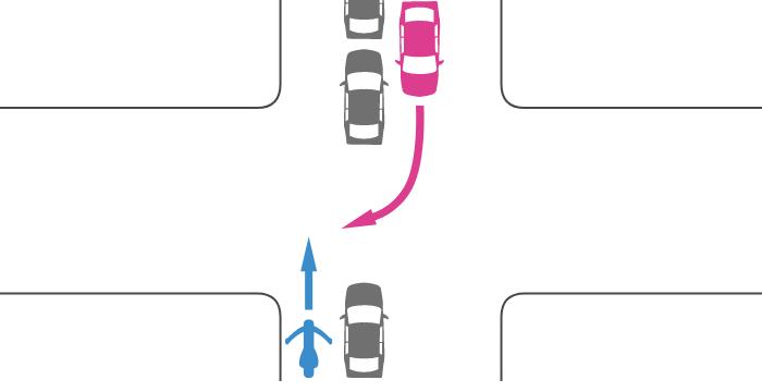 信号機の無い交差点で、進行方向が渋滞中の道路を直進する単車と、右折する四輪自動車の事故