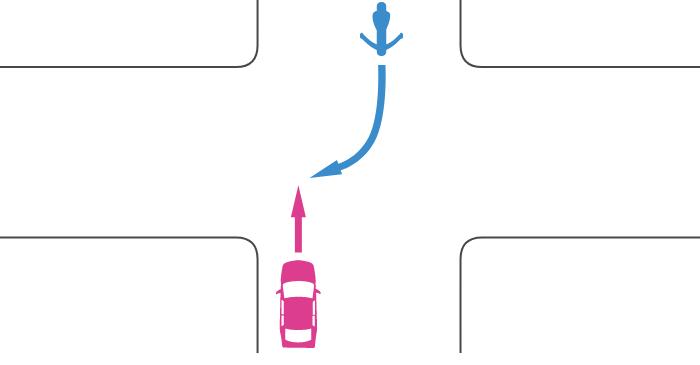 信号機の無い交差点を直進する四輪自動車と対向右折する単車の事故