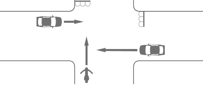 信号機のある交差点での単車と四輪自動車の出合い頭の事故