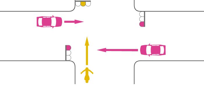 交差点に赤信号で入った四輪自動車と黄信号で入った単車の出合い頭の事故