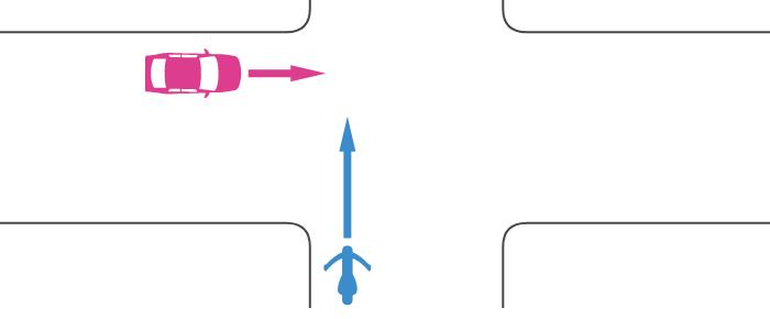 信号機のないほぼ同幅員の交差点に直進進入する単車と、その左の道路から直進進入する四輪自動車の事故