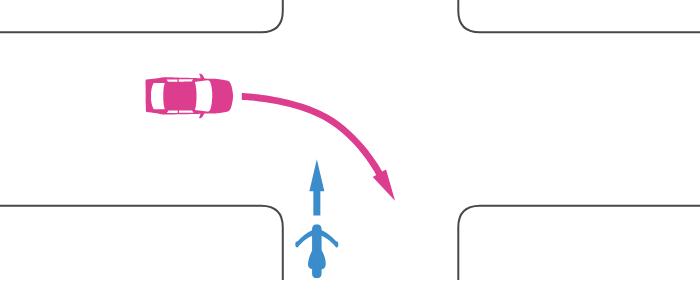 信号機のないほぼ同幅員の交差点に直進進入する単車と、その左の道路から右折進入する四輪自動車の事故