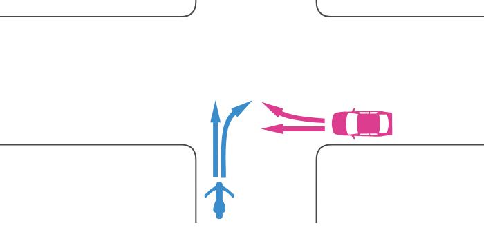 信号機のないほぼ同幅員の交差点に進入した単車とその右方から進入した四輪自動車の事故