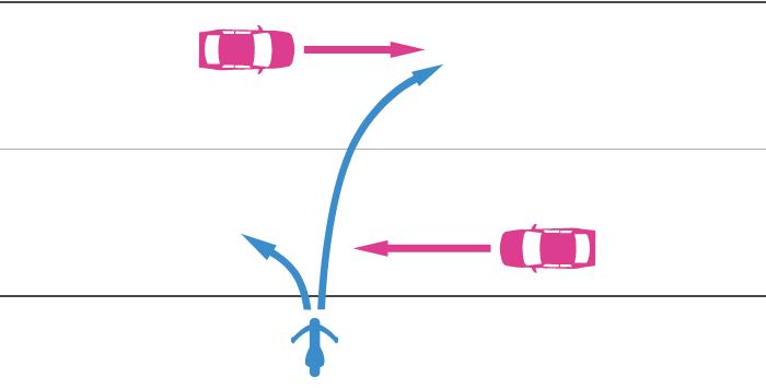 道路外から道路に入る単車と道路を直進中の四輪自動車の事故
