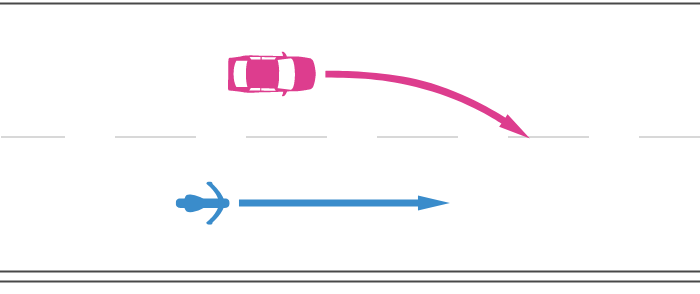 高速道路で追越車線へ車線変更する四輪自動車と後続の直進する単車の事故