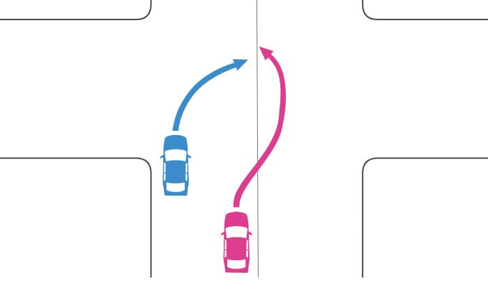 追い越し禁止でない交差点であらかじめ道路中央に寄らずに右折をした車と中央線を越えて追い越した車の事故