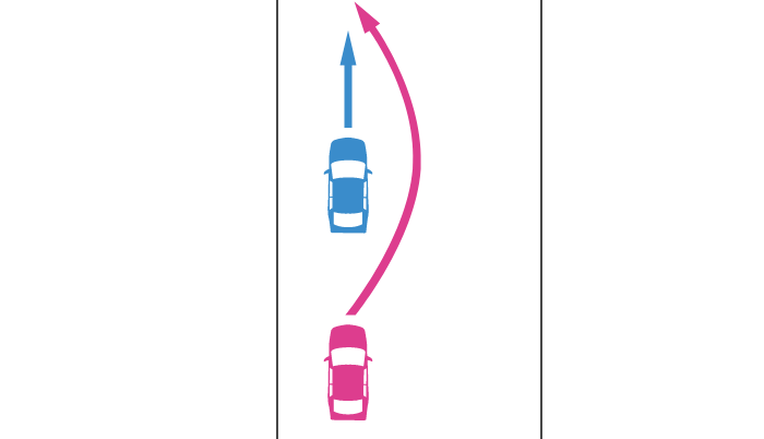 直進車を後続車が追い越すときの事故