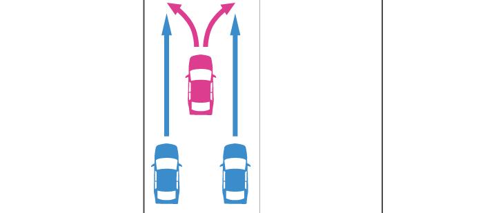 進路変更する先行車と後続の直進車の事故