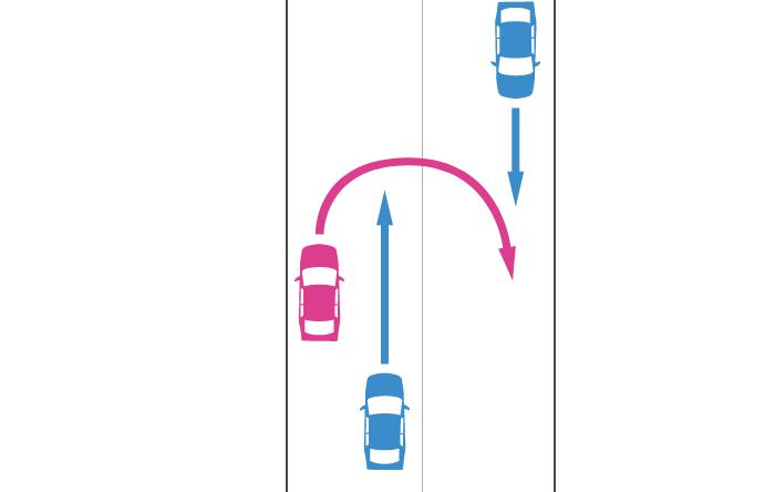 Uターンをした車と他の車が事故を起こしたときの事故