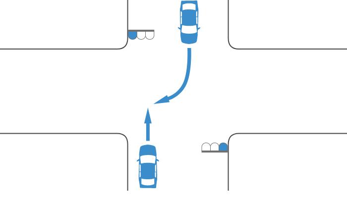 ともに青信号で交差点を直進する車と右折する対向車の事故