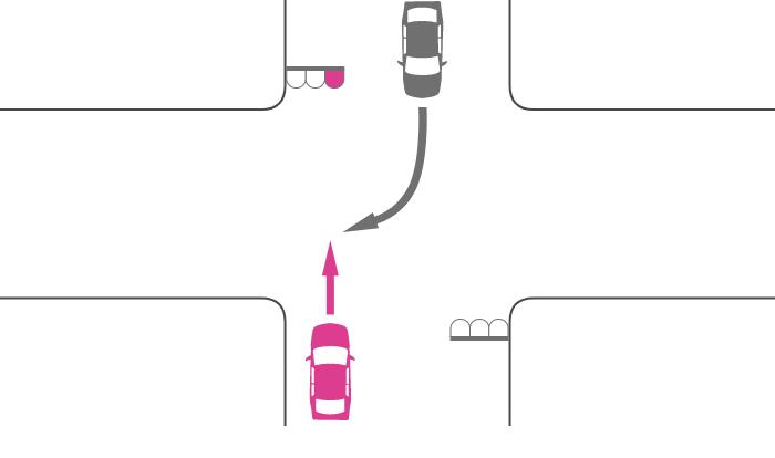 赤信号で交差点を直進する車と対向右折車の事故