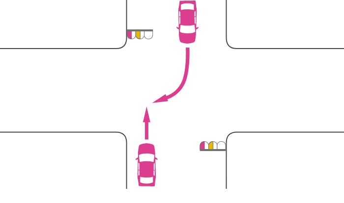 ともに赤点滅または黄点滅信号で交差点を直進する車と右折する対向車の事故