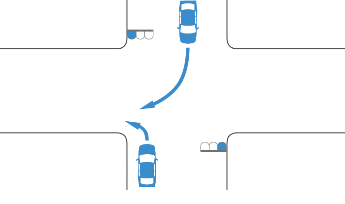 ともに青信号で交差点を左折する車と右折する対向車の事故