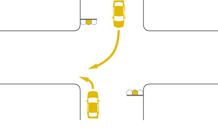 ともに黄信号で交差点を左折する車と右折する対向車の事故