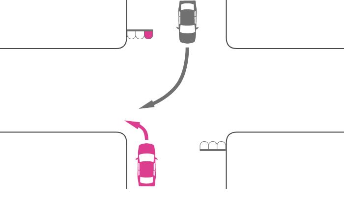 赤信号で交差点を左折する車と対向道路から右折してきた車の事故