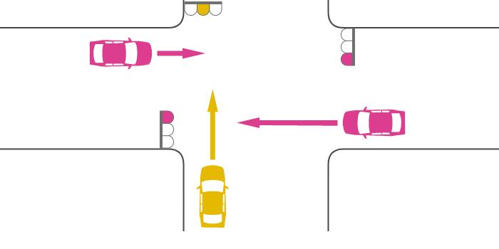 交差点に黄信号で入った車と赤信号で入った車の出合い頭の事故